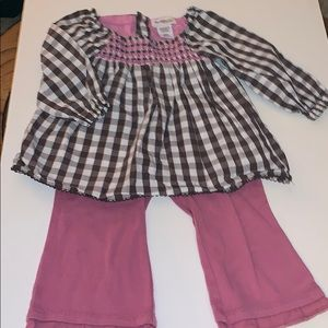 2 pc smocked top and knit pants